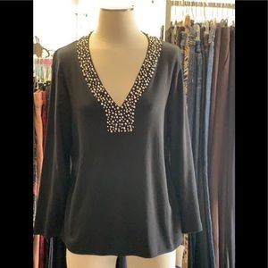 NWT BLK PEARL STUDDED TOP XL